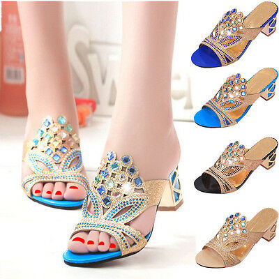 Summer Women Thong Sandals Flip Flops Beach Slippers Rhinestone Heels Shoes