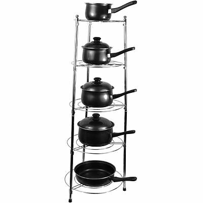 Kitchen Pan Stand Five Tier Saucepan Pot Rack Holder Chrome Storage Unit