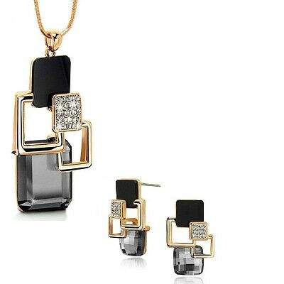 Gold Plated Black & Grey Long Chain Pendant Crystal Necklace & Earring Set