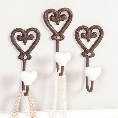 Set of 3 Cast Iron Antique Brown Wall Mounted Vintage Love Heart Coat Hooks