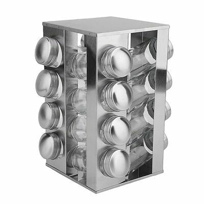 NEW Stainless Steel 16 Jar Revolving Spice Rack Stand Carousel Rotating Glass NR