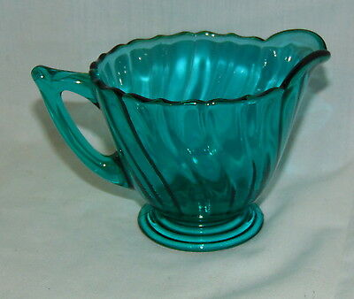"Jeannette SWIRL *ULTRAMARINE BLUE *3"" FOOTED CREAMER*"