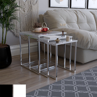 AZTEC NEST OF TABLES Black White Square High Gloss Top Living Room Furniture