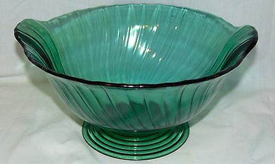 "Jeannette SWIRL *ULTRAMARINE GREEN *11"" FOOTED CLOSED HANDLE BOWL*"