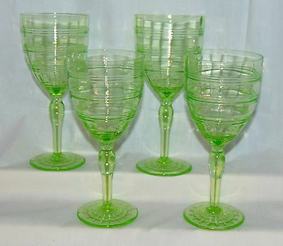 "4 Hocking RING GREEN *7 1/4"" 9 oz WATER GOBLETS*"
