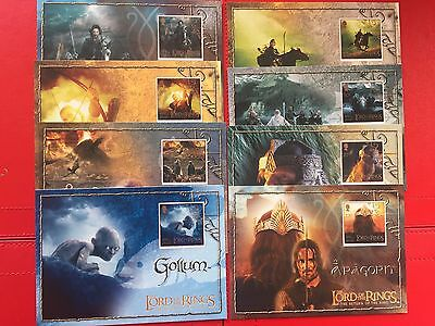 2003 LORD OF THE RINGS ISLE OF MAN POSTCARDS x8 unused VGC VERY CLEAN