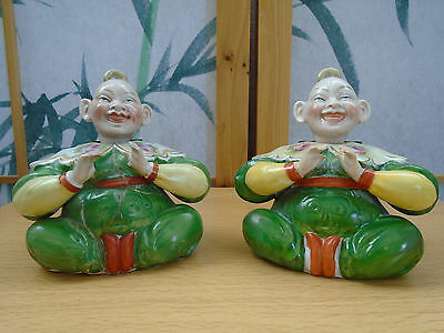2 Antique Vintage Oriental Chinese Ceramic Sitting Tao Yin Nodding Boys