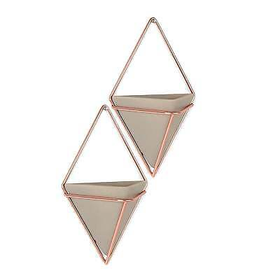 Umbra Trigg Wall Organiser/ Vessel - Concrete/Copper - Set of 2