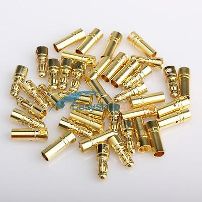 20 Pairs 3.5mm Gold-plated Metal Bullet Banana Plug Connector for RC Battery
