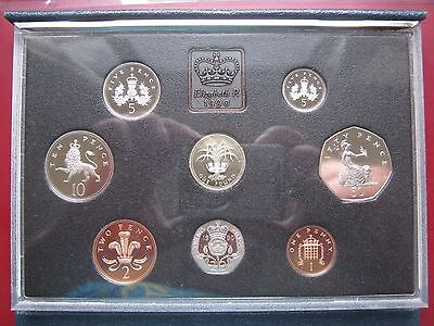 UK British 1990 Proof 8 Coin set 1 Penny - £1 Pound cased info card Royal Mint