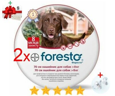 2Pack Seresto/Foresto Flea & Tick Collar for Large Dogs Over 18lbs (8kg)