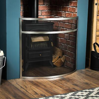 BUCKTON FIRE GUARD Nickel Spark Cover Shield Protector Fireplace Accessory