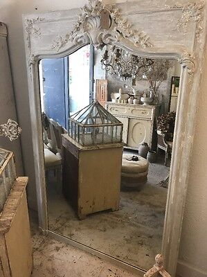 Huge, Carved Wood, Antique, French, Original Painted Over mantle Mirror