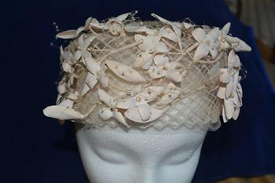 Vintage Ladies pillbox Hat with Netting church beige flowers theater costume