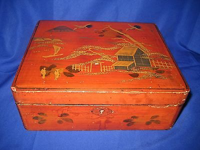 Antique / Vintage  Chinese Hand Painted Lacquered  Wooden Box