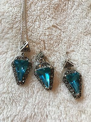 Blue topaz & Marcasite Halo Set sterling silver earrings necklace set