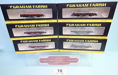 Graham Farish 'n' Rake 6X 377-727 Spa Steel Coil Wagons 'ews' Boxed #16