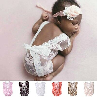 Newborn Baby Girls Lace Deep-V Backless Romper Jumpsuits Photography Prop Outfit