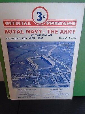 Royal Navy v The Army Rugby Programme 1947