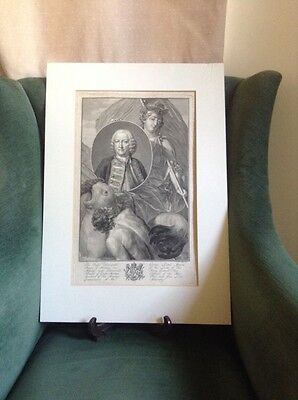 Antique Engraving Admiral George Lord Anson Unframed And In Very Good Condition