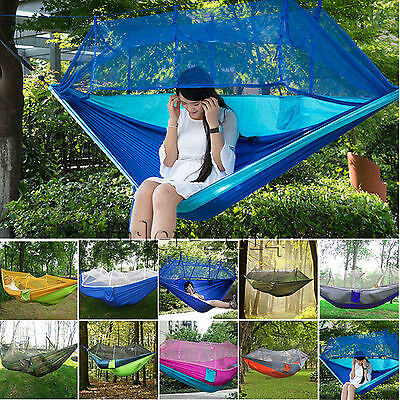 Double Person Hammock Hanging Bed Mosquito Net for Outdoor Travel Camping Picnic