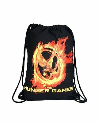 The Hunger Games String Backpack  Sac NEW Black Logo Katniss rare