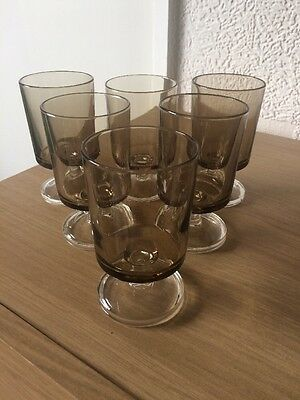 Set Of 6 Black Vintage Sherry/ Port French Glasses