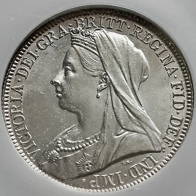 1894 Queen Victoria Veiled Head Silver Florin, Scarce, (MS63)