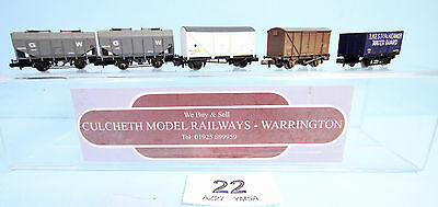 Farish / Trix / Dapol 'n' Gauge 5X Assorted Goods Wagons #22