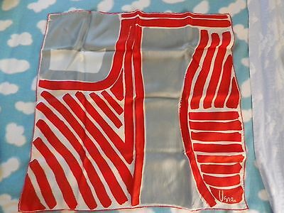 """VTG Vera Silk/Rayon Scarf 26"""" Square Red White Gray  Design Hand Rolled Japan"""