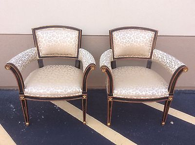 Pair Of Schumacher French Style Armchairs With Animal Print Upholstery