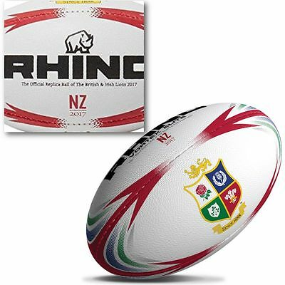 Rhino British & Irish Lions NZ 2017 Rugby Ball Size 5 New Zealand Tour Replica
