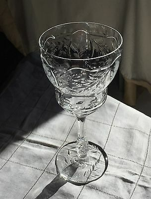 "Libbey Rock Sharpe crystal water glass.7 3/4"" h.Cut stem and bowl .Stem #2018."