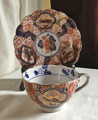 Japanese Arita Imari antique teacup and saucer, early Meiji.