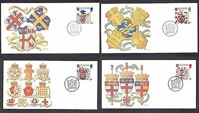 Great Britain - 1984 - Heraldry, Scott# 1040-43, 4 Fleetwood FDCs