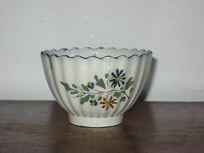 ENGLISH BLUE & WHITE PEARLWARE TEA BOWL pos leeds a/f