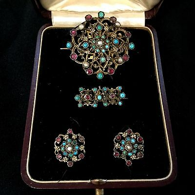 Antique Austro-Hungarian Silver-Gold Set Earrings & Brooches Turquoise Garnets.
