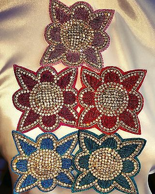 Embroidered Flower Rhinestone Applique (LIMITED EDITION) - PRICECUT !!