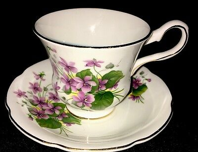 Royal Grafton Bone China Footed Tea Cup & Saucer Purple Flowers
