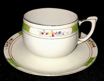 Nippon China Tea Cup and Saucer Hand Painted Flowers with Green and Gold Pattern