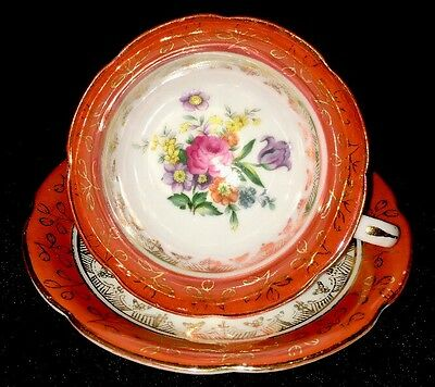 Made In Occupied Japan Tea Cup and Saucer Flowers with Gold Pattern and Trim
