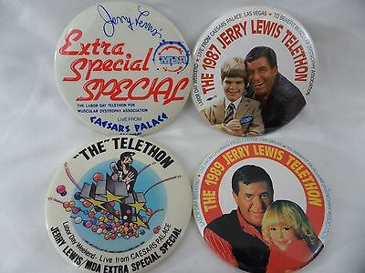 The Jerry Lewis MDA Labor Day Telethon Lot of 4 Pinback Buttons Caesars Palace