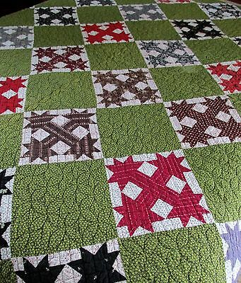 Early Ohio Farmstead Antique Diamond 6 Point Cross Clover Cotton Hand Sewn Quilt