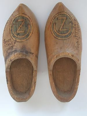 """WW2 souvenir trench art wooden shoes --US 102nd Infantry Division """"Ozark"""""""
