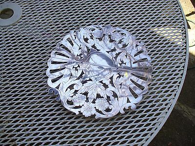 Vintage Sheffeild Silver Plate Adjustable Hot Plate ~ Cut Out Flowers & Leaves