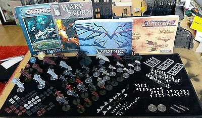 BattleFleet Gothic Huge Magnetized Chaos Fleet Plus Rulebooks and Accessories