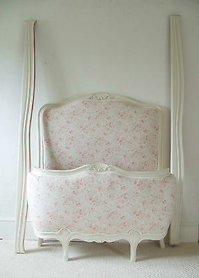 French Vintage Chic Single Bed New Upholstery In Vintage Style Eiderdown Linen