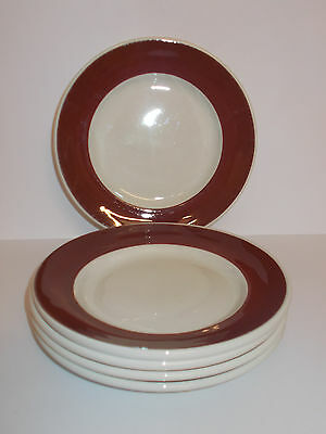 5 x Grindley White Granite Vitrified Side Plates 17.3cm Deep Red Edge Lovely