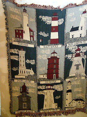 """Vintage Canadian Lighthouses 45"""" x 60"""" Blanket Incl. Peggy's Cove, Point Abino"""