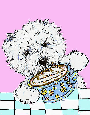 West Highland white Terrier note cards  Coffee by Darci